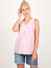 Евромама. Блуза для беременных в полоску со складкой, розовый