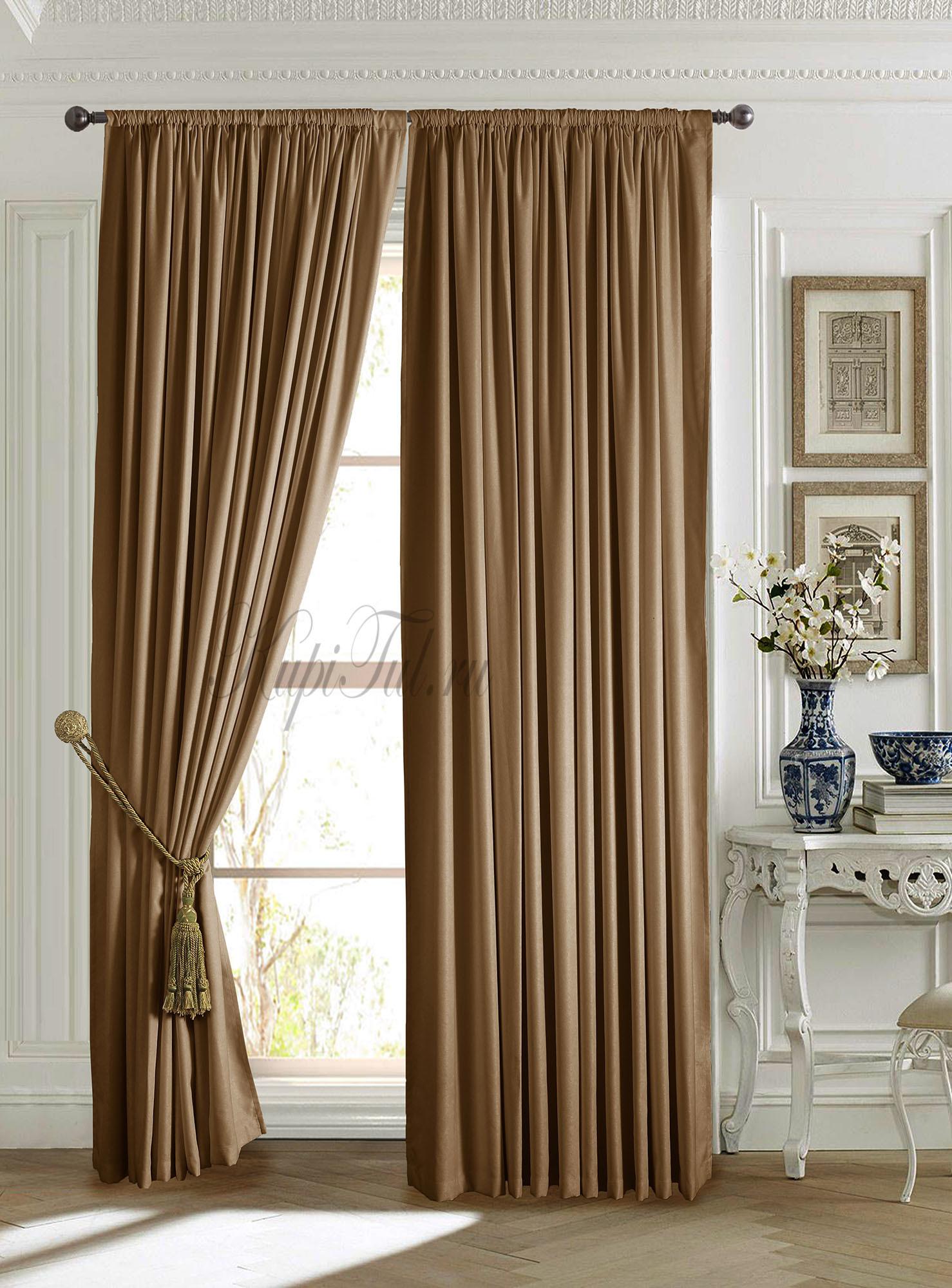 Длинные шторы. Mild (коричневый).