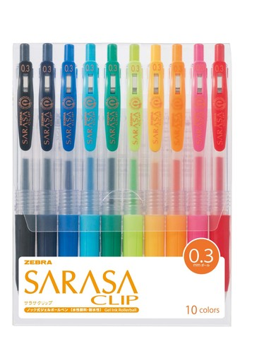 Ручки гелевые Zebra Sarasa Clip 0.3 (набор 10 цветов)