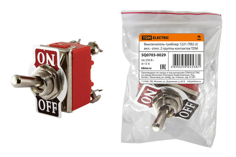 Выключатель-тумблер 1221 (ТВ2-2) вкл.- откл. 2 группы контактов TDM