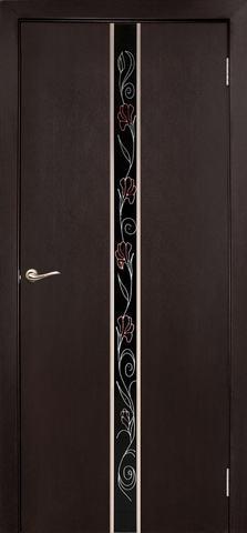 Дверь Дубрава Сибирь Айвенго-Маки, стекло с рисунком/молдинг серебро, цвет венге, остекленная