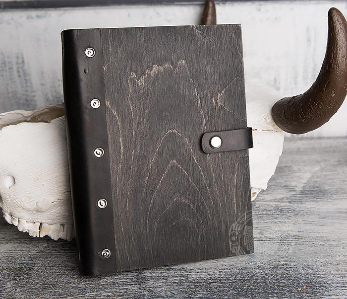 BC126-1 Оригинальный блокнот ручной работы в деревянной обложке фото 01