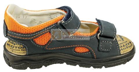 Детские сандалии Котофей 522053-22 из натуральной кожи, для мальчика, сине-оранжевые. Изображение 1 из 10.