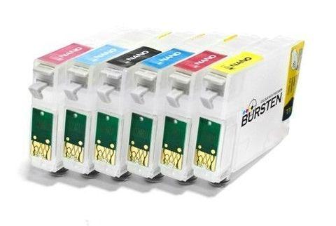 Нано-картриджи BURSTEN 2-го поколения SC3 для принтеров Epson R2100/2200 (T341 - T348) x 8 шт.