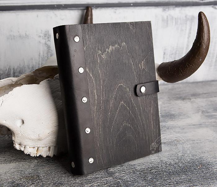 BC126-1 Оригинальный блокнот ручной работы в деревянной обложке фото 02