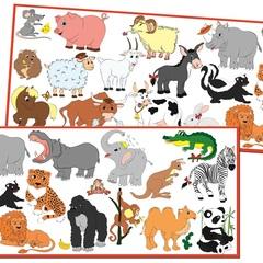 Развивающий набор наклеек:  Животные: домашние и экзотические