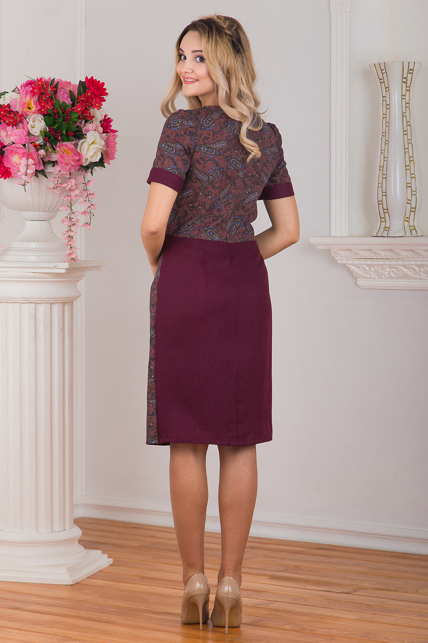 Платье с запахом Спелая вишня вид сзади