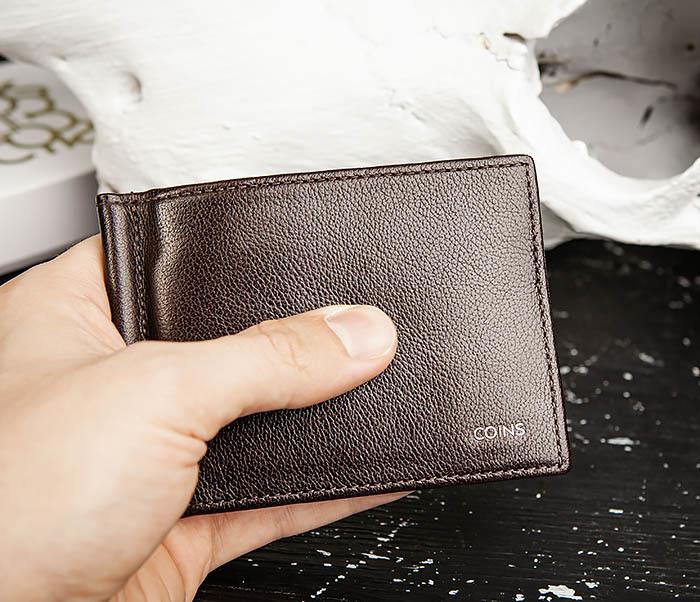 WL323-2 Мужской кожаный зажим для купюр «Atos» с монетницей фото 15