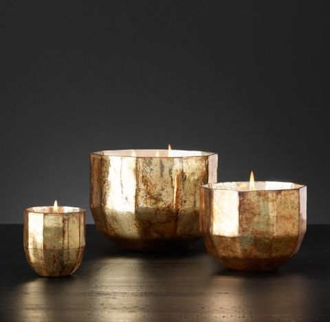 Mercury Glass Luxury Candle Collection - Gold/Moroccan Cedré