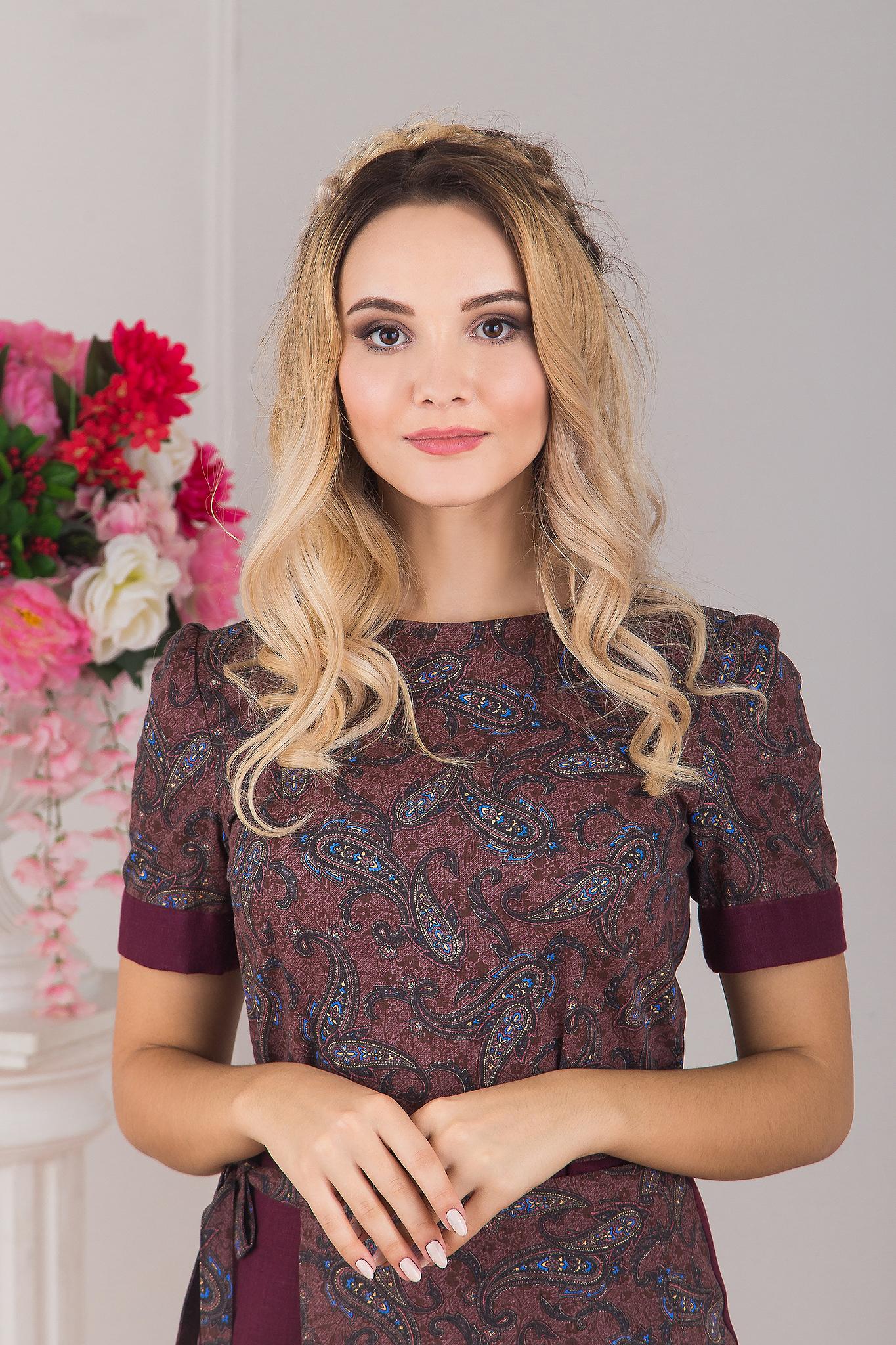 Платье с запахом Спелая вишня увеличенный фрагмент