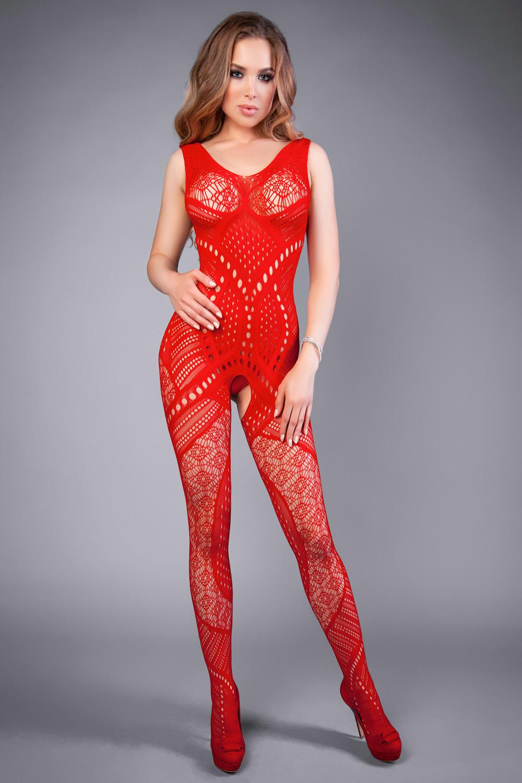 Красный бодистокинг сетка с геометрическим орнаментом (Боди-комбинезоны)