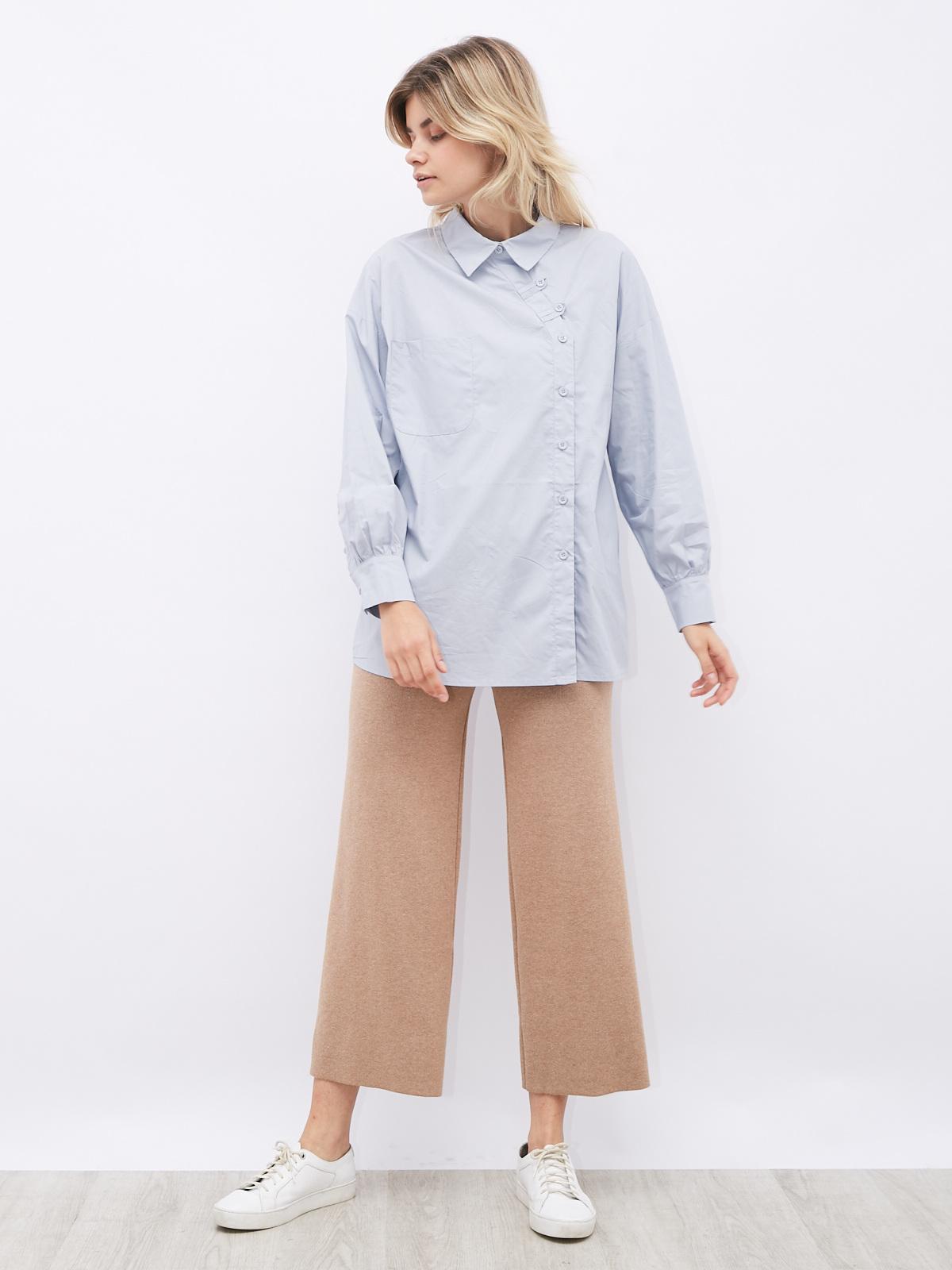 Рубашка с асимметричной застежкой и карманом