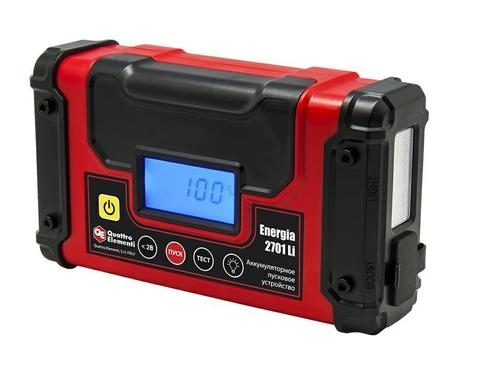 Пусковое устройство QUATTRO ELEMENTI Energia 2701 Li  (12В, 12Ач, 270А, 1,1 кг, USB, LCD - дисплей, фонарь, сумка) (240-010)