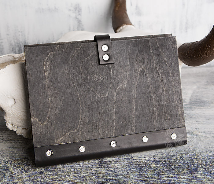 BC126-1 Оригинальный блокнот ручной работы в деревянной обложке фото 05
