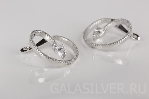 Серьги с цирконом из серебра CAS2259