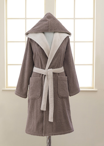 LEAF коричневый махровый женский халат Soft Cotton (Турция)