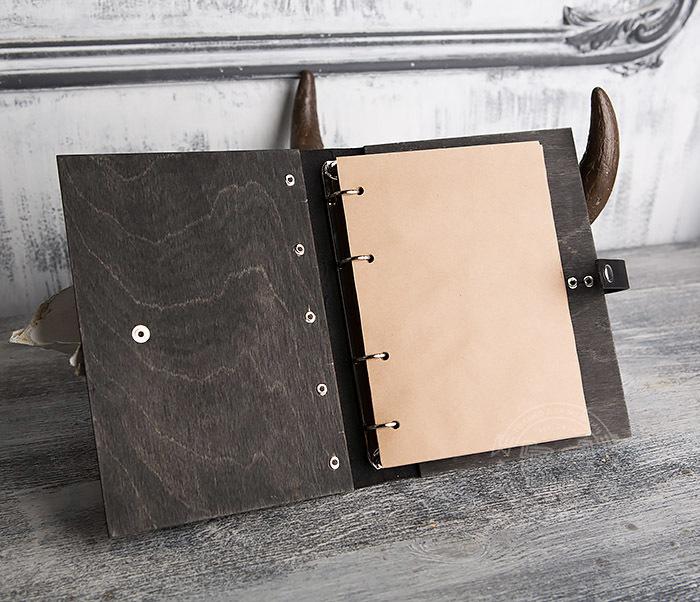 BC126-1 Оригинальный блокнот ручной работы в деревянной обложке фото 06