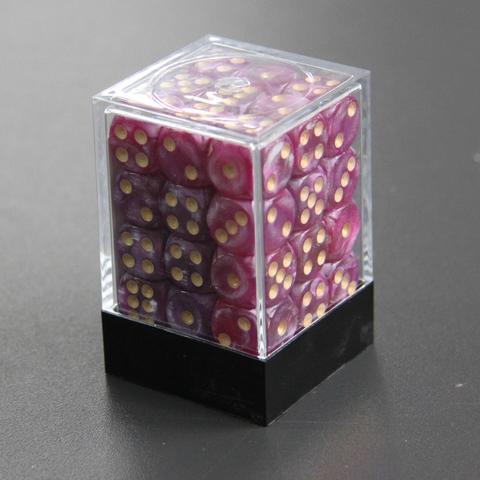 Набор шестигранных кубиков мраморный фиолетовый (36 штук)