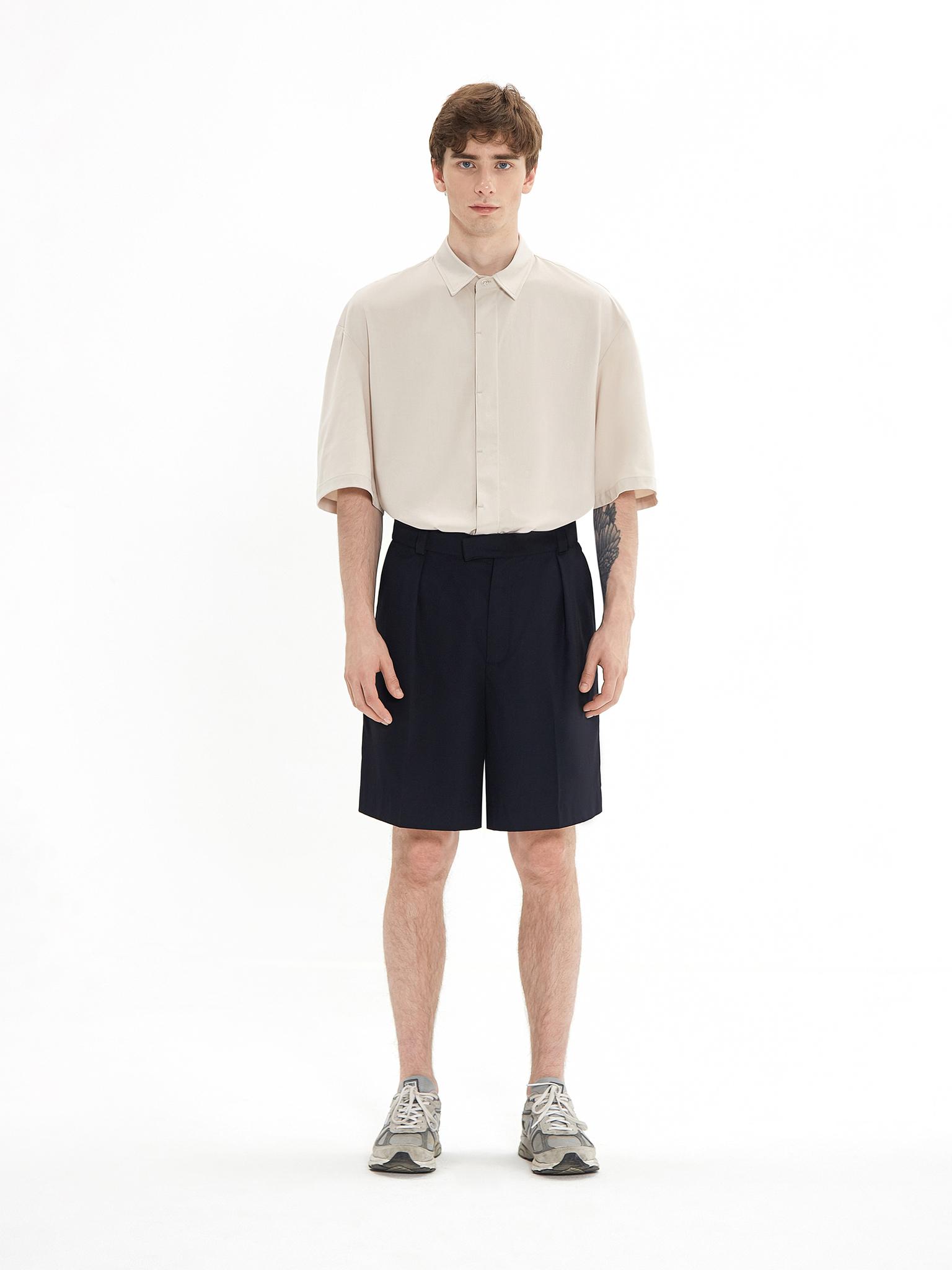 Рубашка с коротким рукавом бежевая
