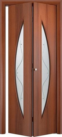 Дверь складная Верда С-6ф (2 полотна), Сатинато с фьюзингом, цвет итальянский орех, остекленная