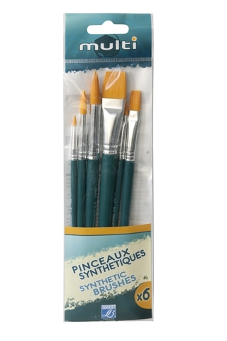 Набор кистей Lefranc&Bourgeois Multi Х6 [2/6/6/8/10/12], синтетика, короткая ручка