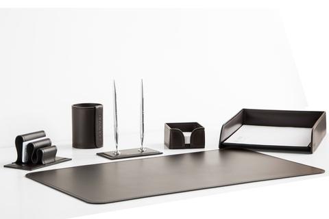 Набор на стол руководителя артикул 1332-СТ 6 предметов кожа Cuoietto цвет темно-коричневый шоколад.