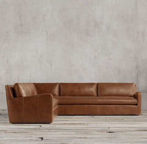 Belgian Slope Arm Leather Left-Arm L-Sectional