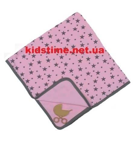 Трикотажный плед для новорожденного Звездопад розовый