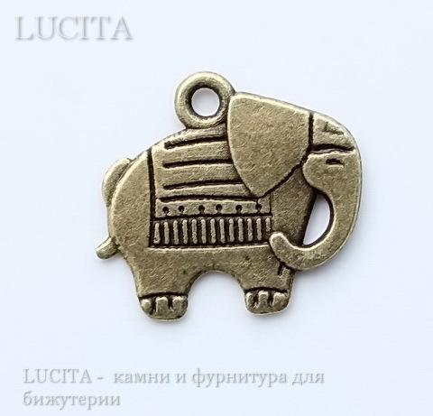 "Подвеска ""Слон"" 21х19 мм (цвет - античная бронза)"