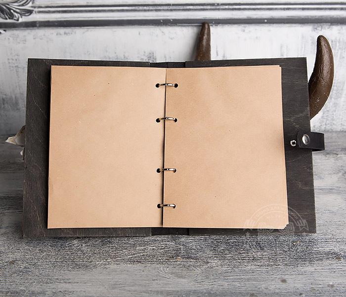 BC126-1 Оригинальный блокнот ручной работы в деревянной обложке фото 07
