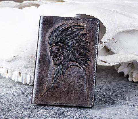 BC167 Обложка на паспорт со скелетом индейцем