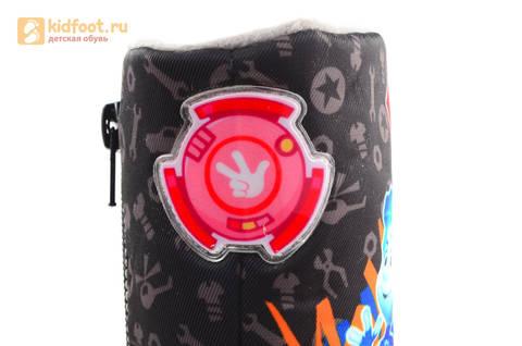 Зимние сапоги для мальчиков с мембраной KINGTEX Фиксики на молнии, цвет черный. Изображение 16 из 19.