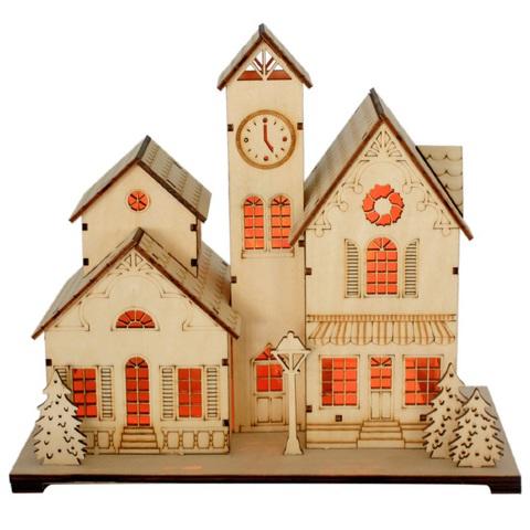 Деревянная Световая фигура «Дом», LT095 (Feron)