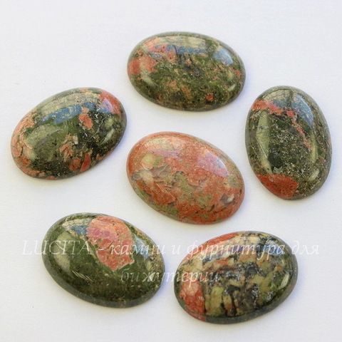 Кабошон овальный Унакит, 25х18х5 мм