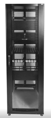 Шкаф ЦМО серверный ПРОФ напольный 48U (800 × 1200) дверь перф., задние двойные перф., черный, в сборе