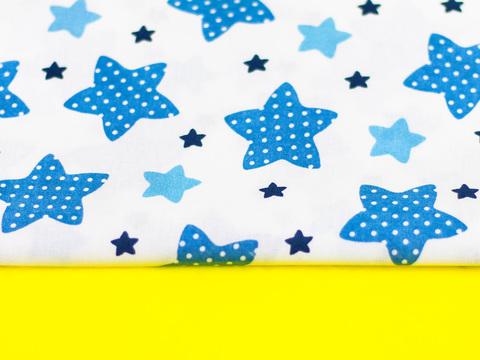 Тканина бавовна, Let's make відріз 15x40 см. Малюнок - сині та блакитні зірочки на білому 312162993