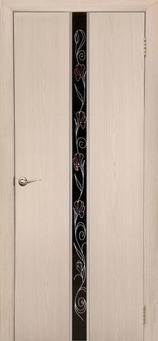Дверь Дубрава Сибирь Айвенго-Маки, стекло с рисунком/молдинг серебро, цвет беленый дуб, остекленная