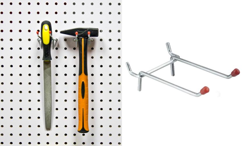 Двойные крючки для молотков (подходит на панель из металла и хдф)  L 50мм Ø3мм, (в комплекте 2 шт). PH811