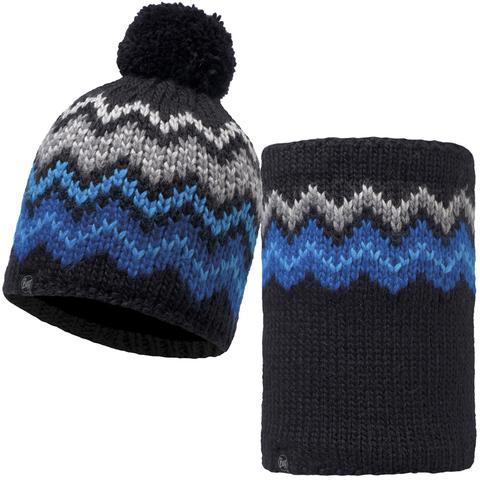 Комплект шапка шарф вязаный с флисом Buff Danke Black
