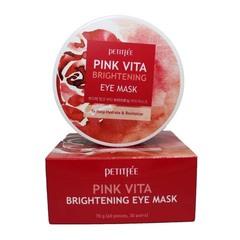 Petitfee Pink Vita Brightening Eye Mask - Осветляющие тканевые патчи для кожи вокруг глаз