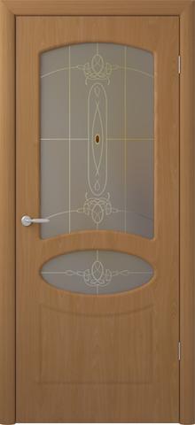 Дверь Фрегат Венеция, художественное с фьюзингом, цвет миланский орех, остекленная