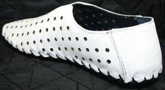 Мокасины мужские кожаные летние Luciano Bellini 107704 White.
