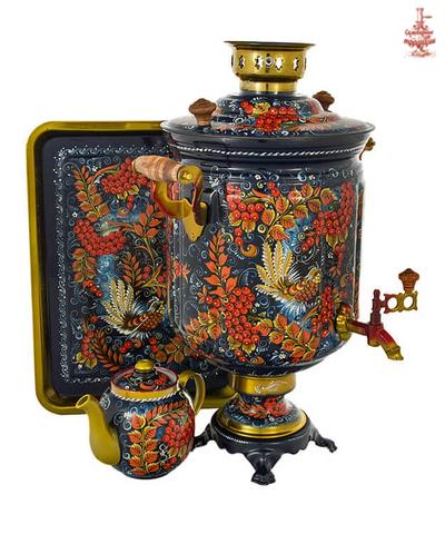 Самовар электрический расписной «Рябина» формой банка 10 л в наборе с подносом и чайником