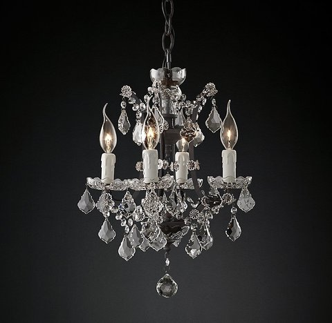 19th C. Rococo Iron & Clear Crystal Round Chandelier 14