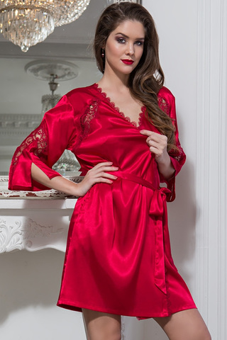 Шелковый халат-кимоно красного цвета