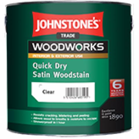 JOHNSTONE'S QUICK DRY SATIN WOODSTAIN/ДЖОНСТОУНС Защитное быстросохнущее полуматовое цветное покрытие