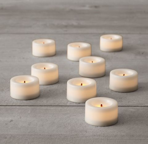 Battery-Operated Wax Flameless Tealights (Set of 9)