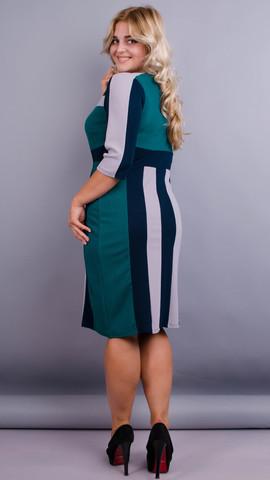 Пралине. Стильное  платье плюс сайз. Изумруд.
