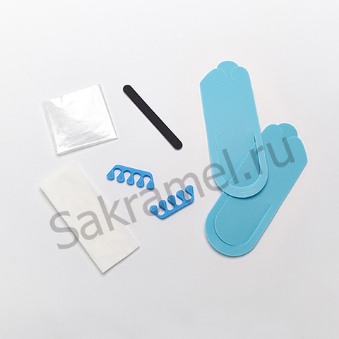 Комплект для педикюра смешанный (тапочки-вьетнамки 3 мм, салфетка 30х40 - 2 штуки, пакет для педикюрных ванн, пилка одноразовая, разделители для пальцев 8 мм) (1 комплект, упаковка)