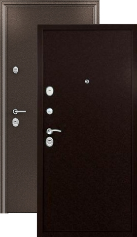Тёплая дверь входная Страж 3K-Steel, 2 замка, 1,5 мм  металл, (медь антик+медь антик)